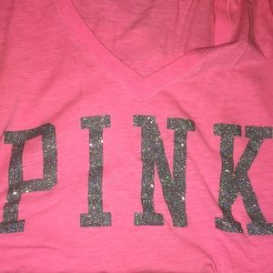 Cozy PINK shirt with silver glitter!